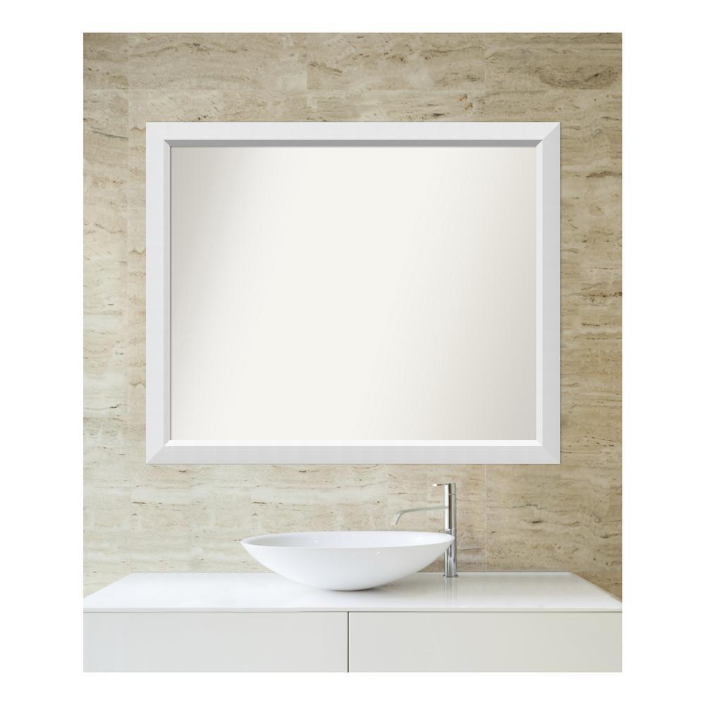 Medium Rectangle White Modern Mirror (33 in. H x 40 in. W)
