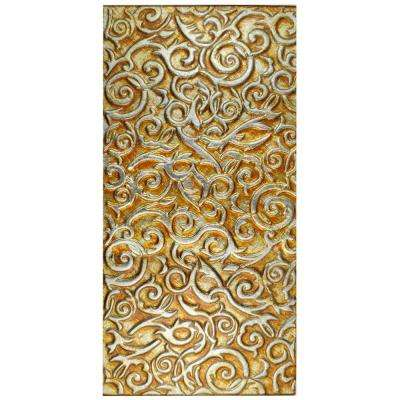 Embossed Florence Panorama Champagne 11-3/4 in. x 23-3/4 in. Glass Wall Tile