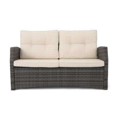 Sanger Gray Wicker Outdoor Loveseat with Beige Cushions