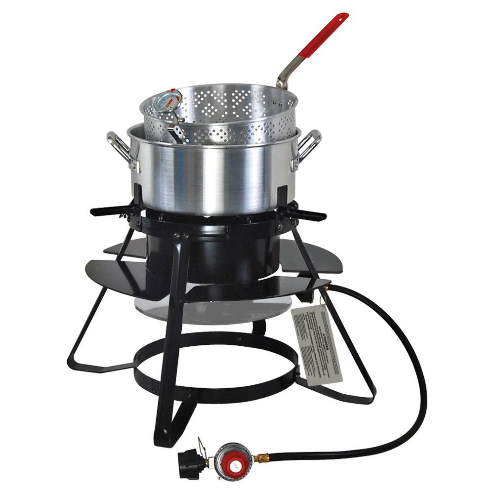 Brinkmann 100,000 BTU Propane Gas Outdoor Cooker with 10 qt. Pan and Basket Set