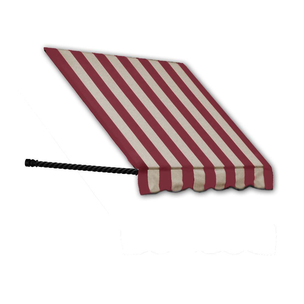 AWNTECH 18 ft. Santa Fe Twisted Rope Arm Window Awning (24 in. H x 12 in. D) in Burgundy/Tan Stripe