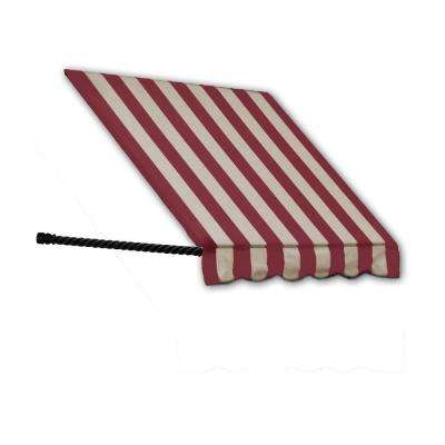 3 ft. Santa Fe Twisted Rope Arm Window Awning (31 in. H x 12 in. D) in Burgundy/Tan Stripe