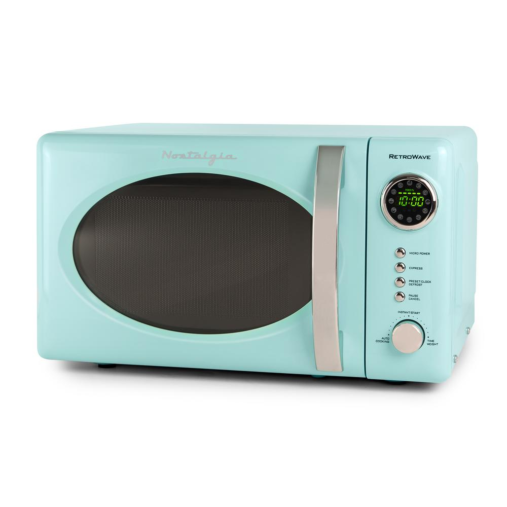 Nostalgia Retro Series 0.7 cu. ft. Countertop Microwave Oven in Aqua (Blue) With a beautiful and sleek retro design, this microwave is sure to stand out in any kitchen. It features 12-pre programmed cooking settings and a bright LED display, making usability simple. Five power levels and 700-watts of power are perfect for reheating leftovers or cooking food. Color: Aqua.