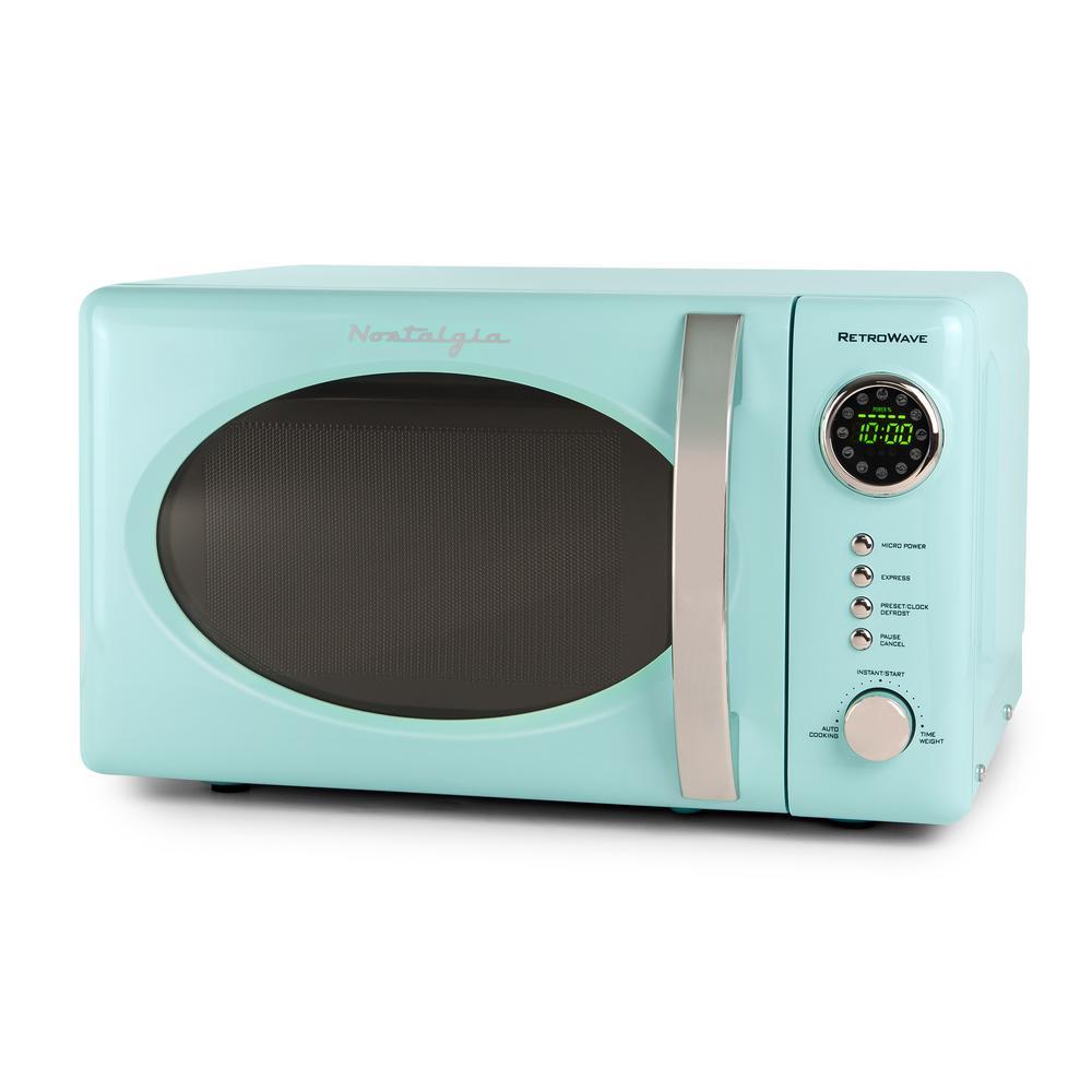 Retro Series 0.7 cu. ft. Countertop Microwave Oven in Aqua