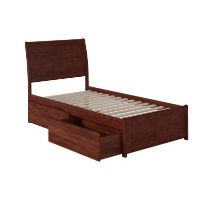 Portland Walnut Twin XL Platform Bed with Matching Foot Board with 2-Urban Bed Drawers