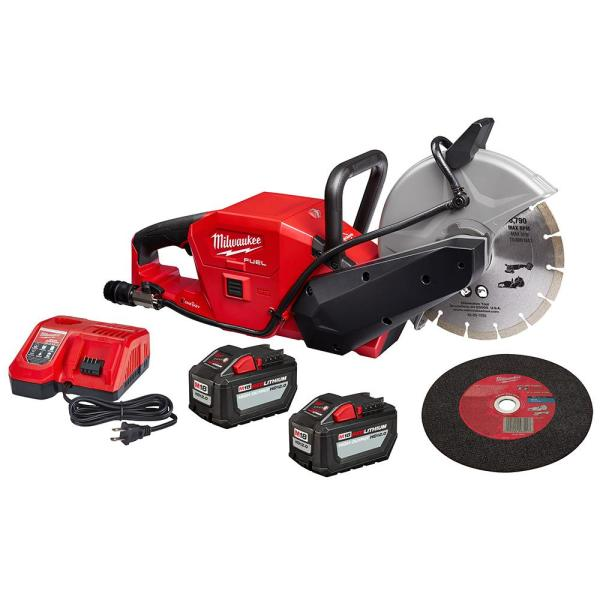 Milwaukee M18 FUEL ONE-KEY 18-Volt Lithium-Ion Brushless Cordless 9 in. Cut Off Saw Kit W/ (2) 12.0Ah Batteries & Rapid Charger
