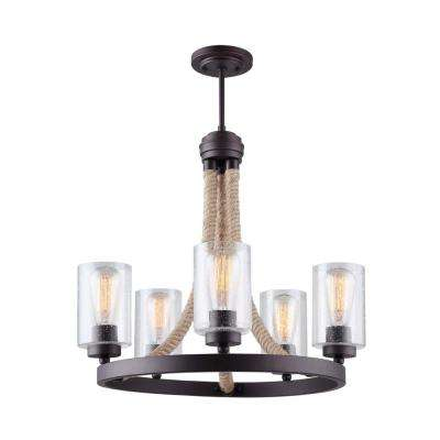 Delmar 5-Light Oil Rubbed Bronze Chandelier with Seeded Glass Shades