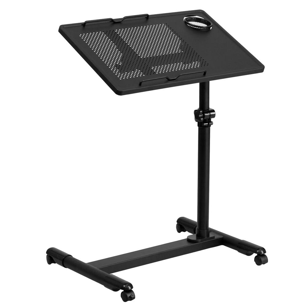 Flash Furniture Black Adjule Height Steel Mobile Computer Desk