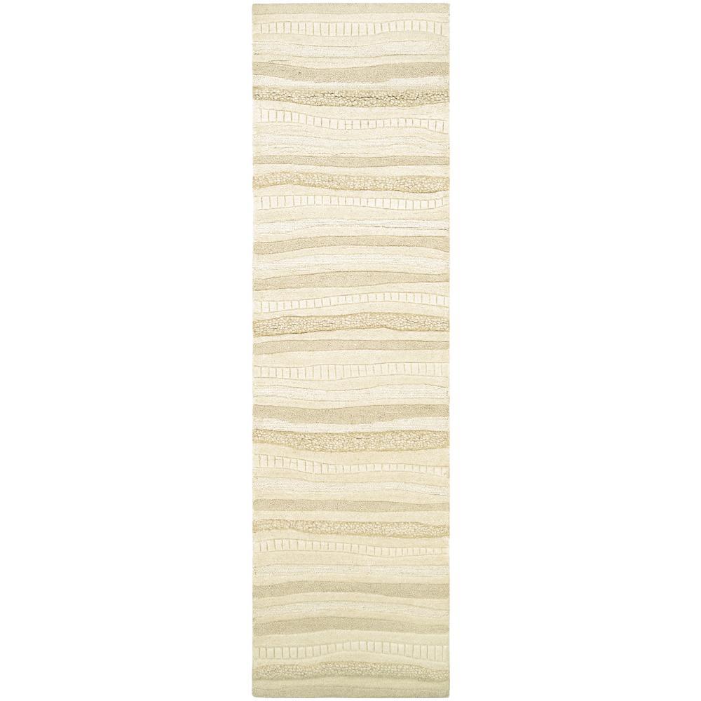 Super Indo-Natural Impressions White 2 ft. x 8 ft. Runner Rug