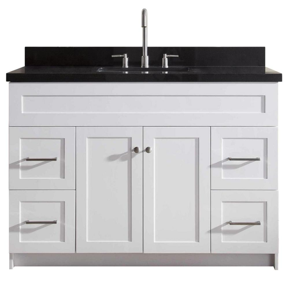 Ariel Bath Vanity White Granite Vanity Top Absolute Black White Basin Product Picture