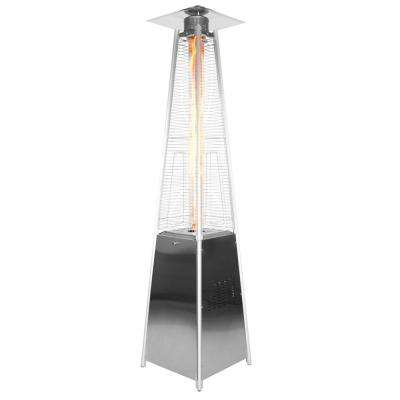 Dancing Flames 34,000 BTU Stainless Steel Pyramid Patio Heater with Wheels