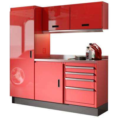 Select Series 75 in. H x 72 in. W x 22 in. D Aluminum Cabinet Set in Red with Stainless Steel Worktop (6-Piece)