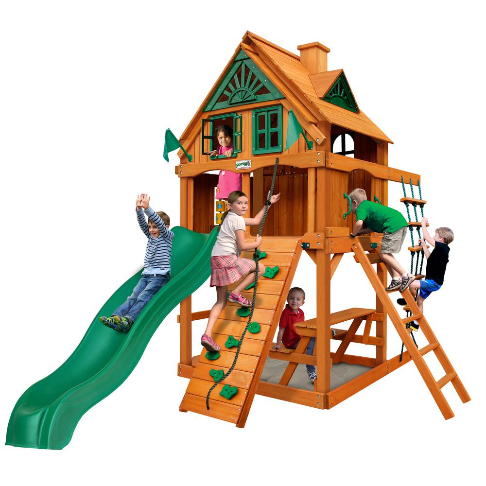 Chateau Tower Treehouse Cedar Playset with Fort Add-On and Natural Cedar