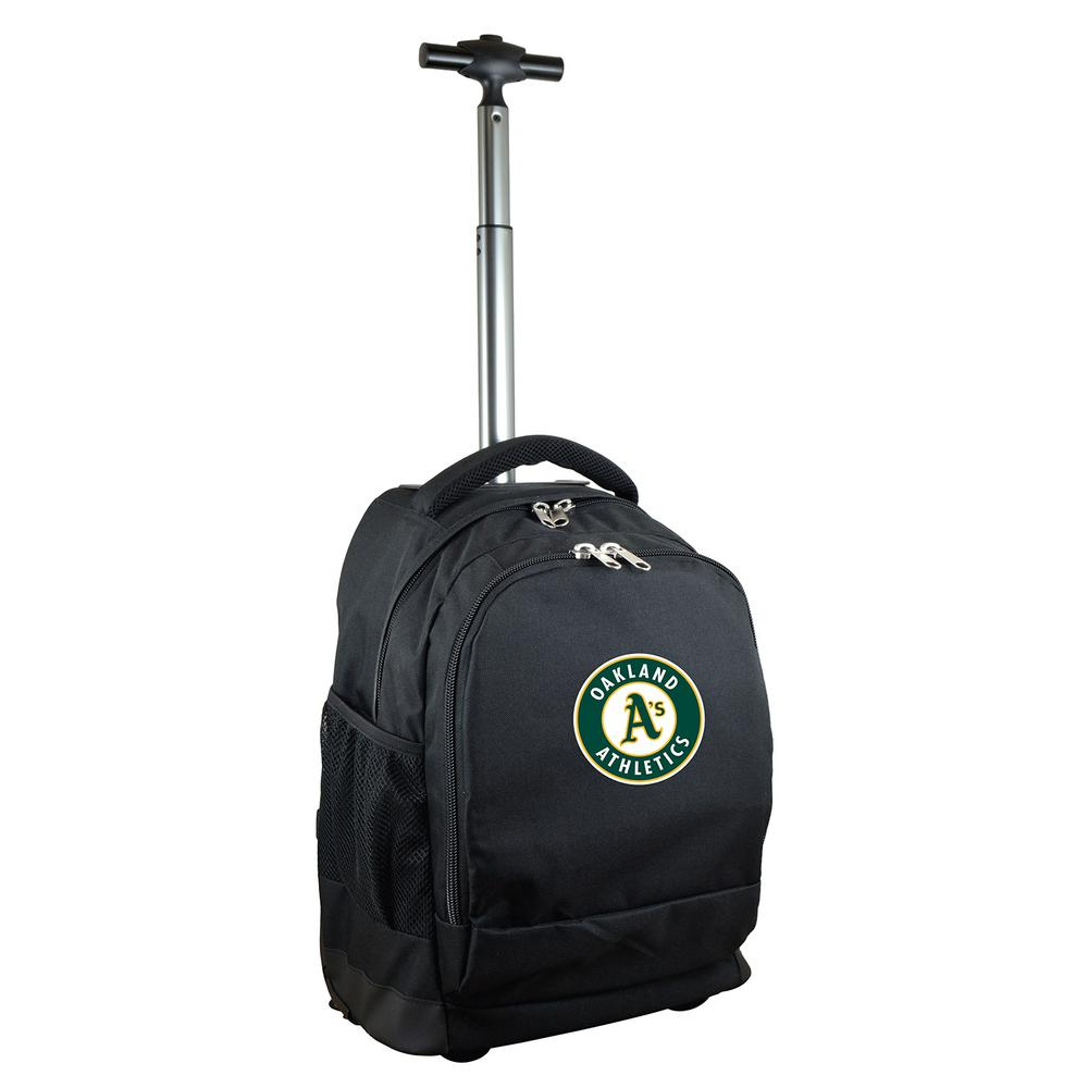 MLB Oakland A's 19 in. Black Wheeled Premium Backpack