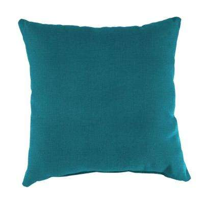 Sunbrella Spectrum Peacock Square Outdoor Throw Pillow