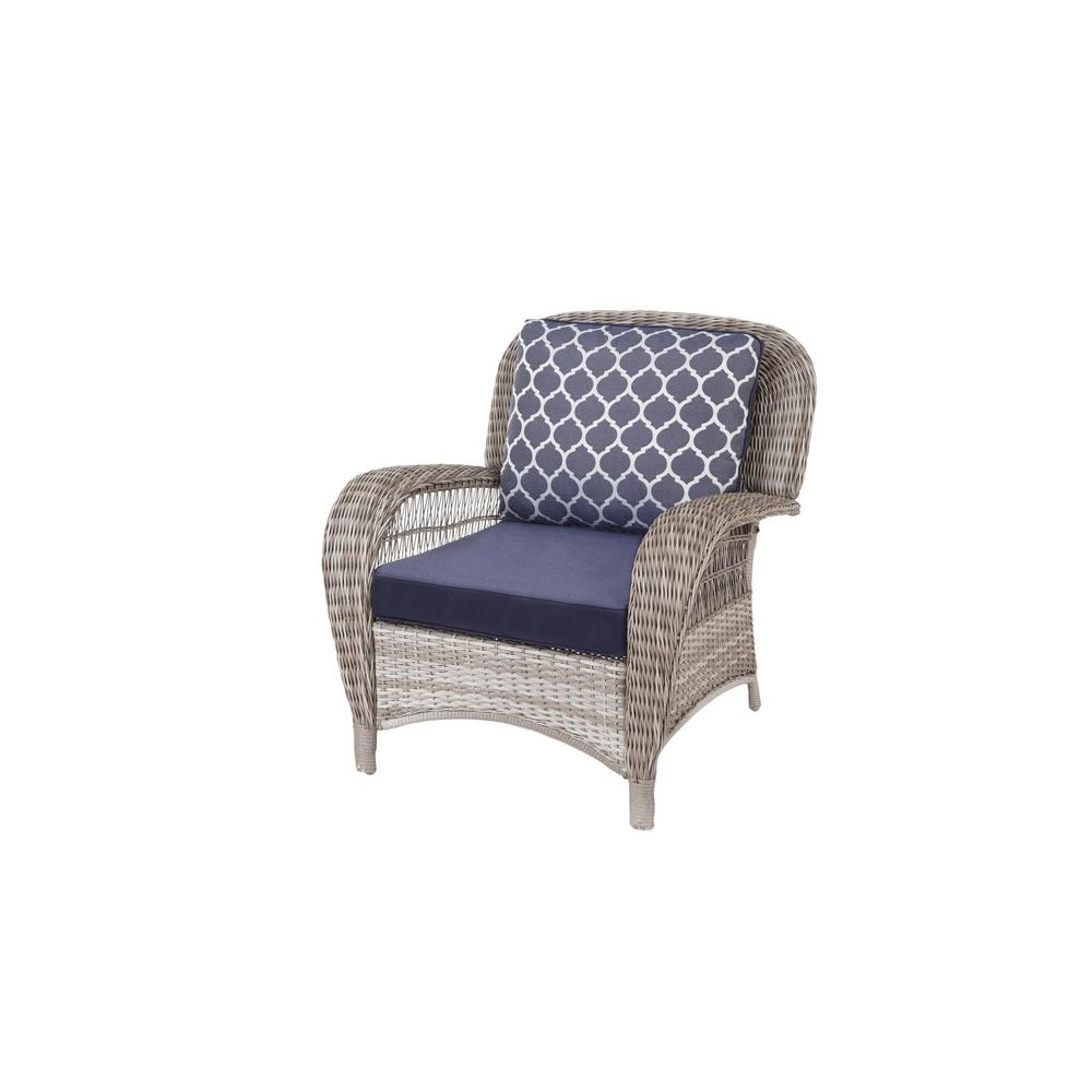 Fantastic Hampton Bay Beacon Park Gray Wicker Outdoor Patio Stationary Lounge Chair With Standard Midnight Trellis Navy Blue Cushions Pabps2019 Chair Design Images Pabps2019Com
