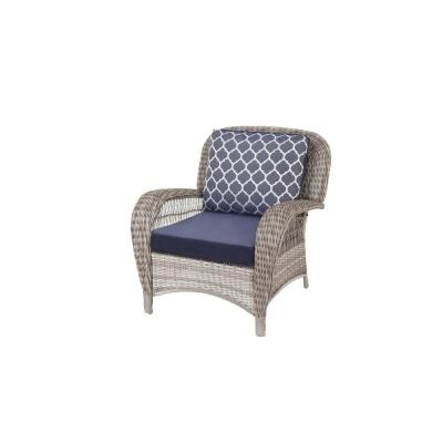 Beacon Park Gray Wicker Outdoor Patio Stationary Lounge Chair with CushionGuard Midnight Trellis Navy Blue Cushions