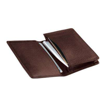 Brown Executive Business Card Case Wallet in Genuine Leather