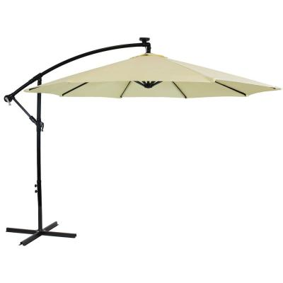 9.5 ft. Offset Cantilever Patio Umbrella in Pale Buttercup with Solar LED Lights