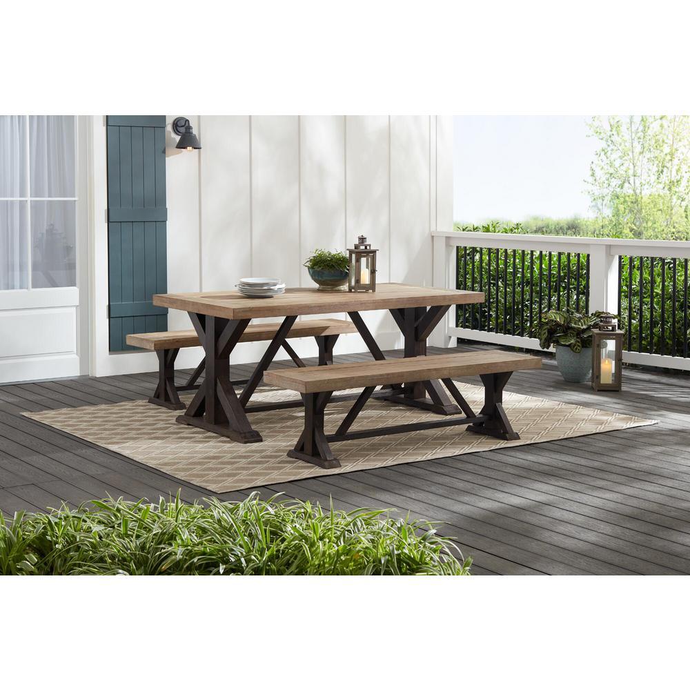Silver Oaks Farmhouse 3-Piece Teak Wood Outdoor Patio Dining Set