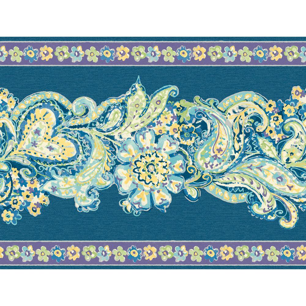 The Wallpaper Company 8 in. x 10 in. Blue and Purple Paisley and Petals Border Sample