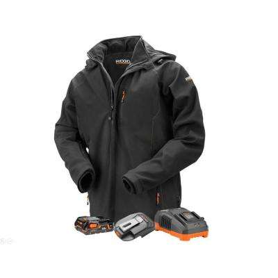 Men's Extra Large Black 18-Volt Lithium-Ion Cordless Heated Jacket with (1) 1.5 Ah Battery and Charger