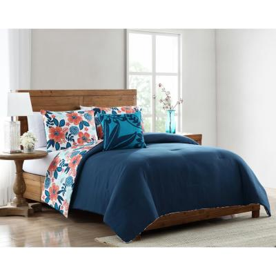 Portia Red and Blue Floral Full/Queen Comforter Set