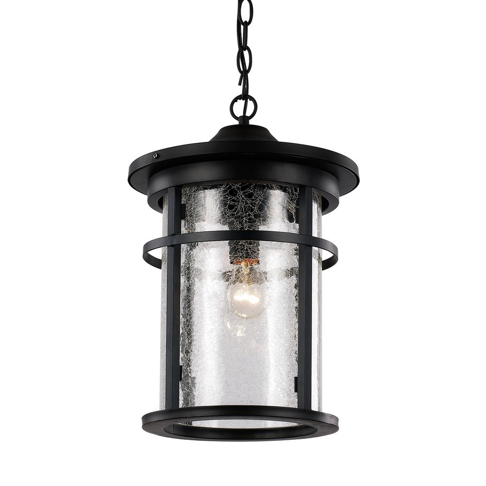 Bel Air Lighting Avalon 1-Light Black Outdoor Hanging Lantern