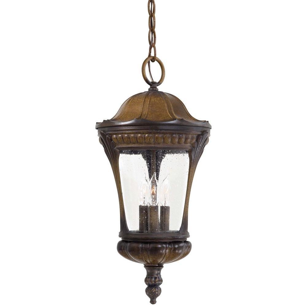 Kent Place 3-Light Hanging Indoor/Outdoor Prussian Gold Lantern