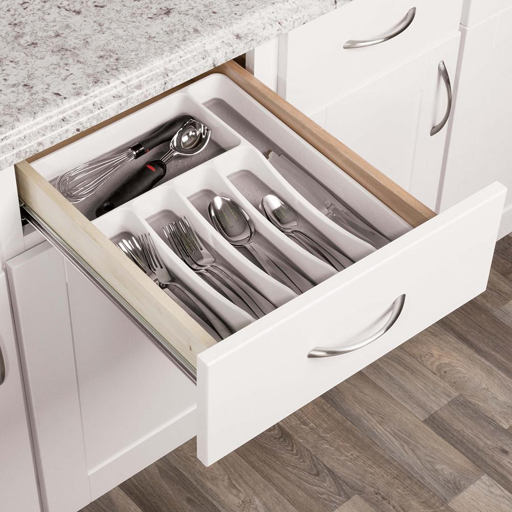 White Plastic Tableware Drawer Organizer