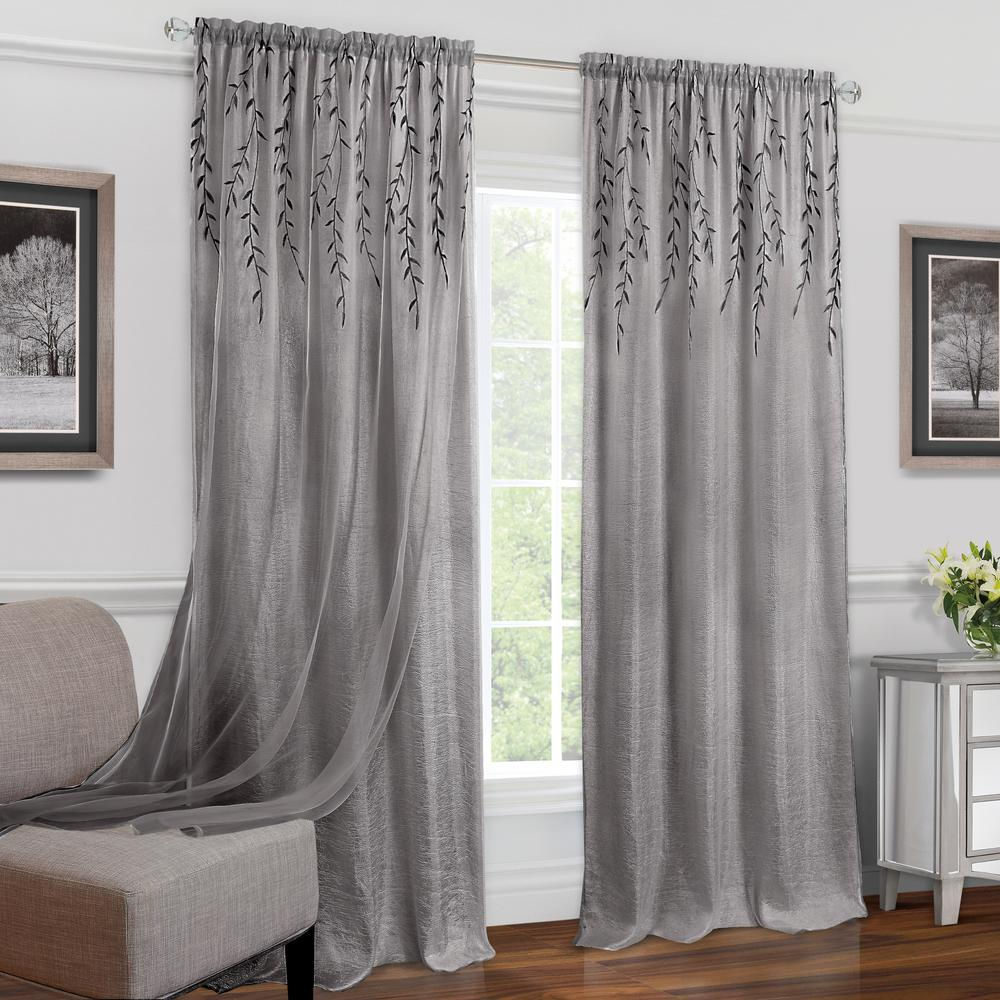 Achim Willow Grey Polyester Rod Pocket Curtain