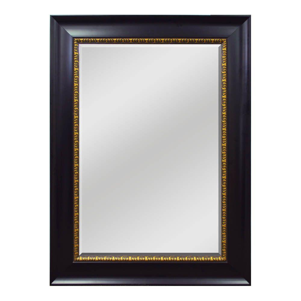 Home Decorators Collection 33-1/2 in. W x 45-1/2 in. H  Framed Wall Mirror in Espresso with Bronze Accent-DISCONTINUED