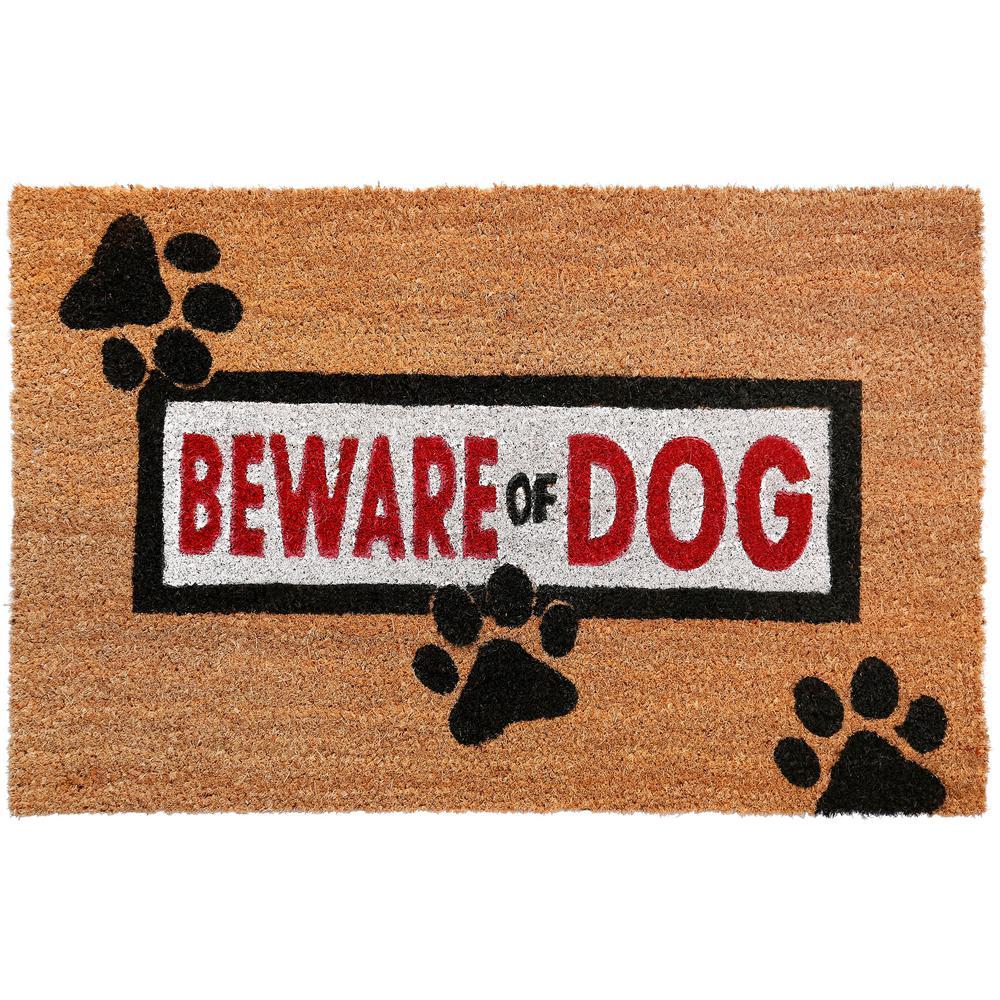 Comfy Pooch Beware of Dog 18 in. x 28 in. Coir Mat