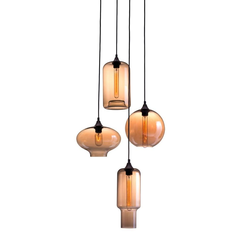 ZUO Lambie 4-Light Rust And Amber Ceiling Lamp-98425
