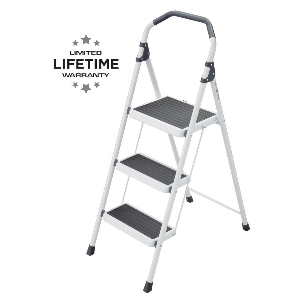 Gorilla Ladders 3-Step Steel Lightweight Step Stool Ladder 225 lbs. Load Capacity Type II Duty Rating