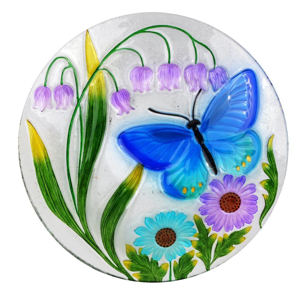 18 in. Butterfly and Flowers Birdbath
