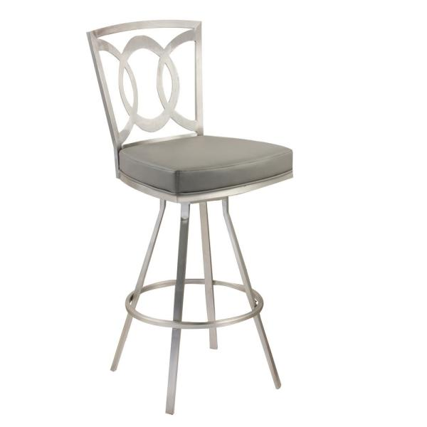 Drake 26 in. Gray Faux Leather and Brushed Stainless Steel Finish Transitional Swivel Barstool