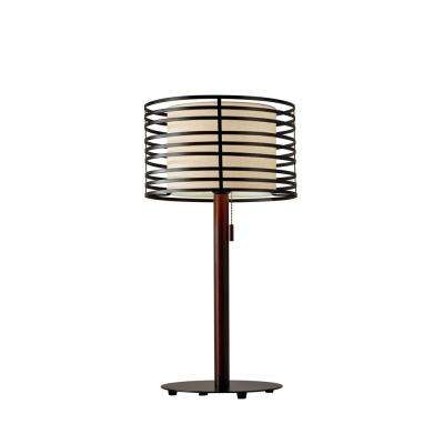 Reed 26 in. Walnut Pinewood Table Lamp