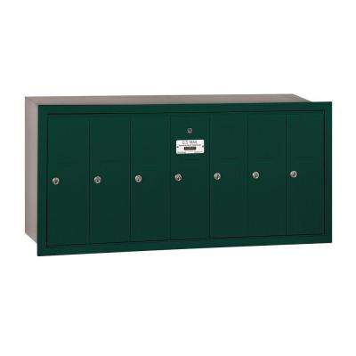 3500 Series Green Recessed-Mounted Private Vertical Mailbox with 7 Door