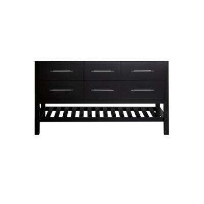59 in. Cabinet Only in Black with Matte/Polished Chrome Hardware