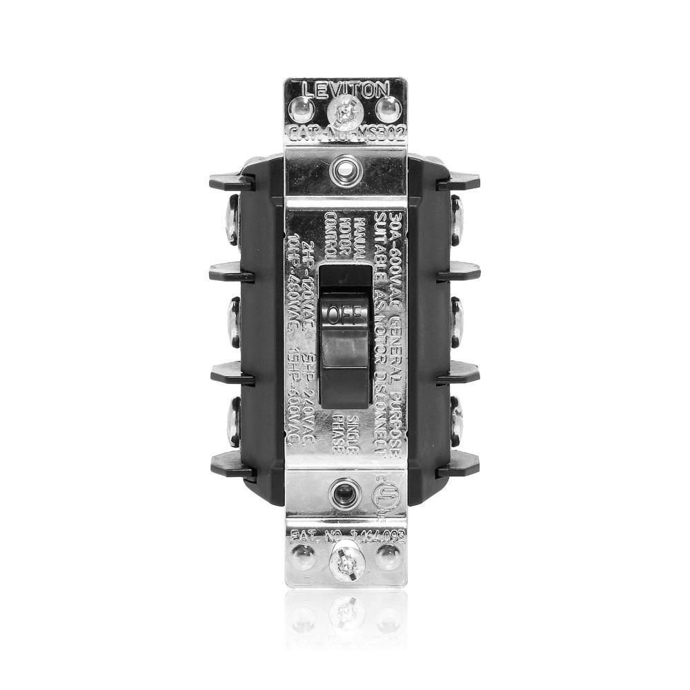 Leviton 30 Amp 600 Volt Industrial Grade Three Pole Three Phase AC Manual  Motor Controller Short Toggle Switch - Black