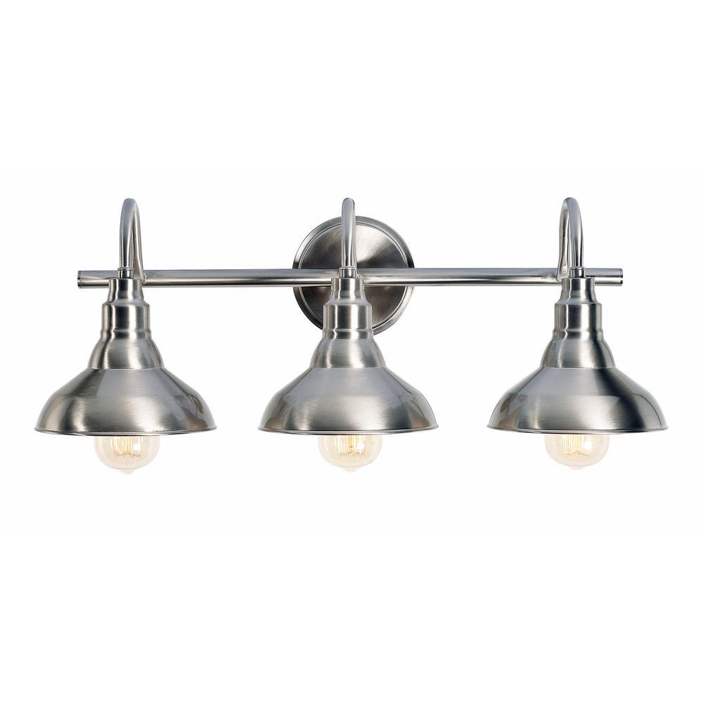 Kenroy Bathroom Vanity Light: Kenroy Home Dale 3-Light Brushed Steel Vanity Light