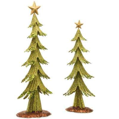 24 in. and 19 in. H Assortment Metal Green Trees with Gold Top Star