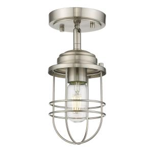 Seaport 1-Light Pewter Semi-Flush Mount Light