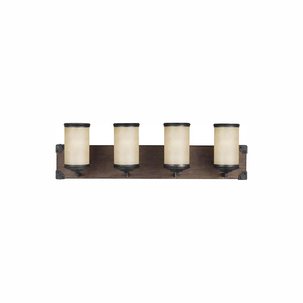 Sea Gull Lighting Dunning 26.25 in. W. 4-Light Weathered Gray and Distressed Oak Vanity Light with LED Bulbs