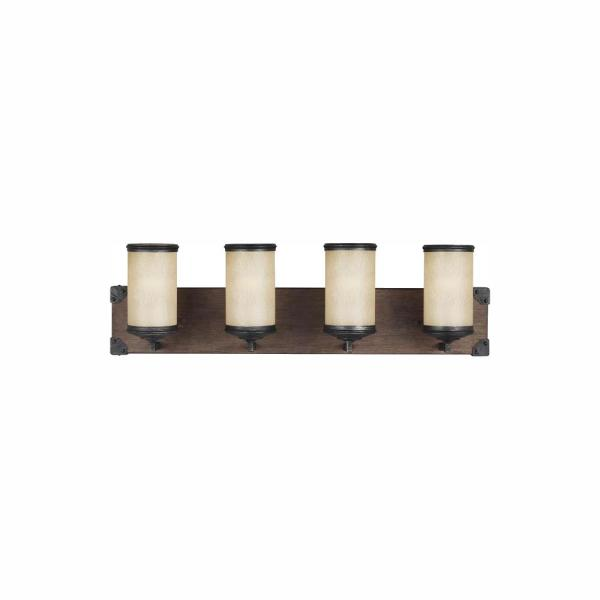 Dunning 26.25 in. W. 4-Light Weathered Gray and Distressed Oak Vanity Light with LED Bulbs