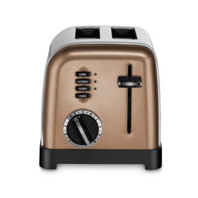 Classic 2-Slice Copper Stainless Steel Wide Slot Toaster with Crumb Tray