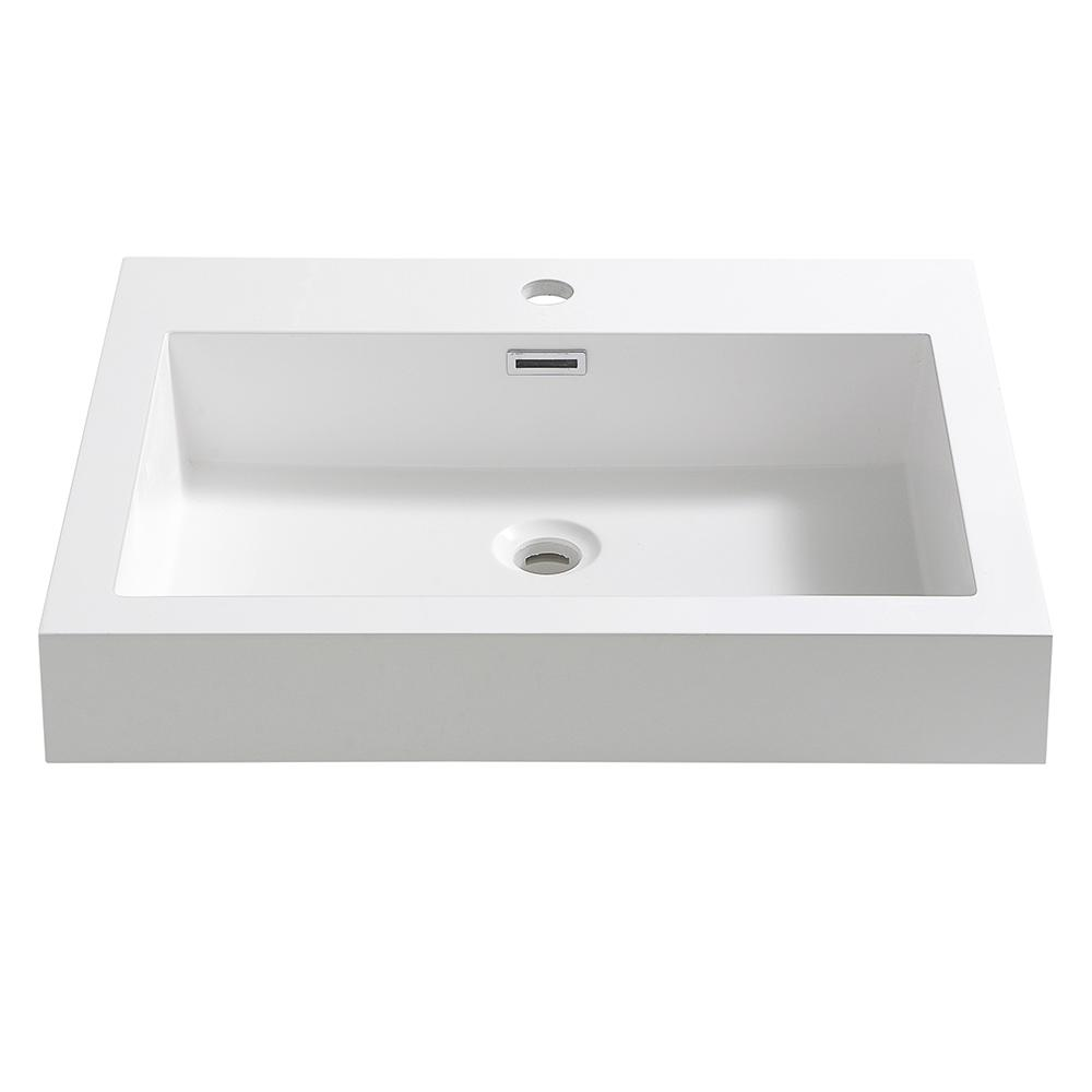 Nano 24 in. Drop-In Acrylic Bathroom Sink in White with Integrated