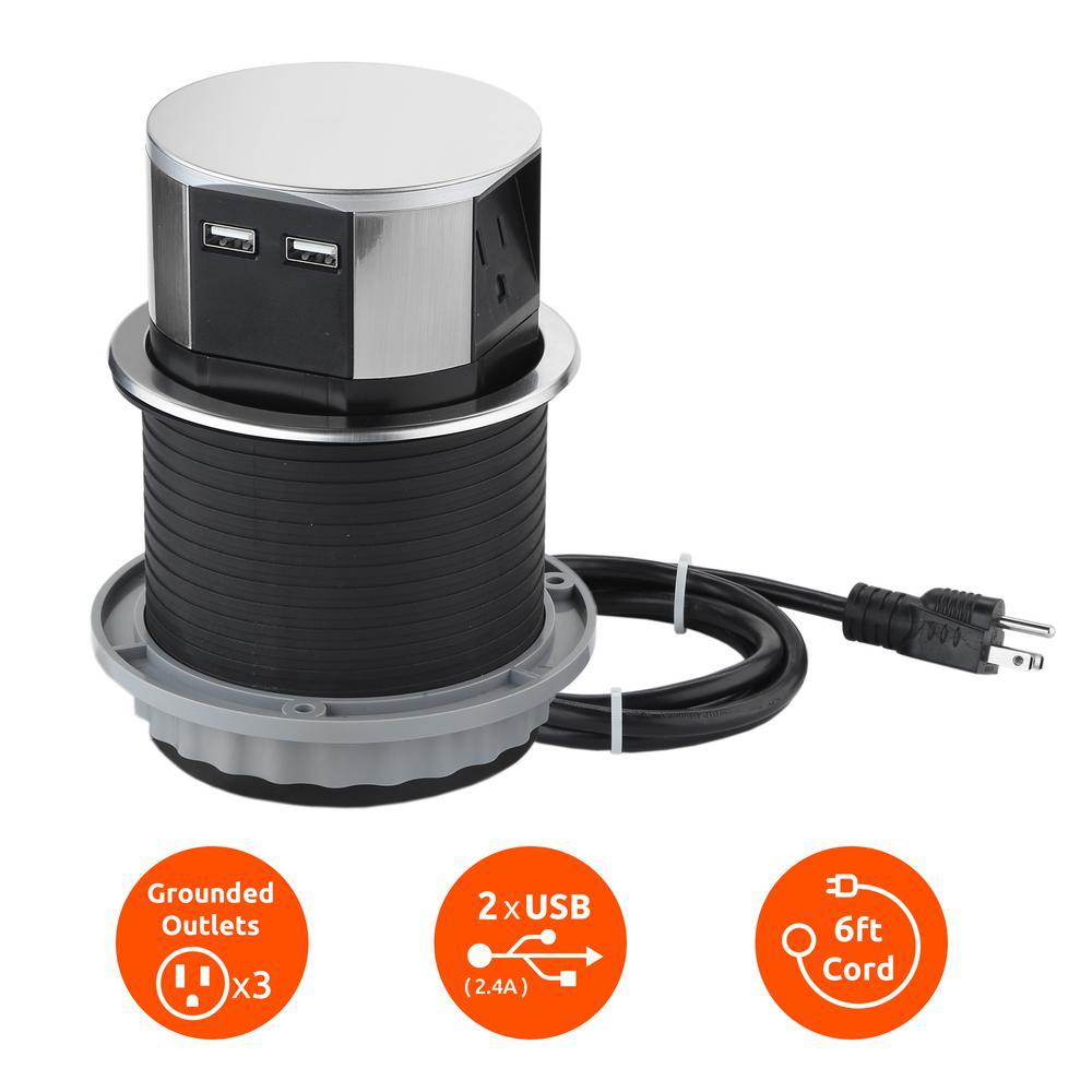 Space Saver Pop Up Outlet, 3 Power Outlets 15 Amp, 2 USB Ports 2.4 Amp, Overload Protection, Splash Resistant