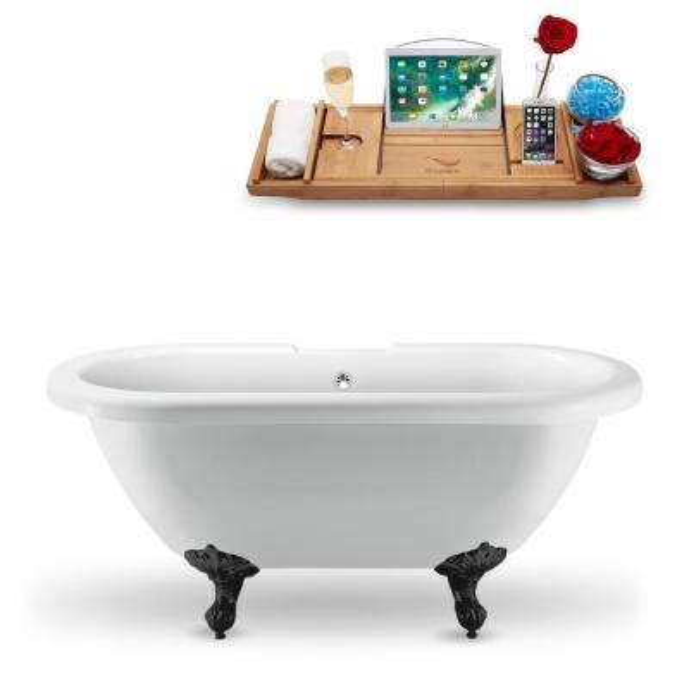 66.9 in. Acrylic Fiberglass Clawfoot Non-Whirlpool Bathtub in White